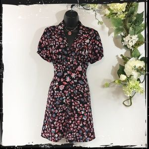 Candie's Black Floral Puffed Sleeve Dress Size M